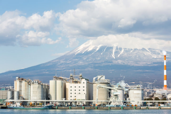 Mount Fuji and Chemical Factory