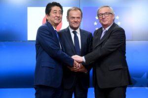 EU-Japan FTA - Abe, Tusk, Juncker